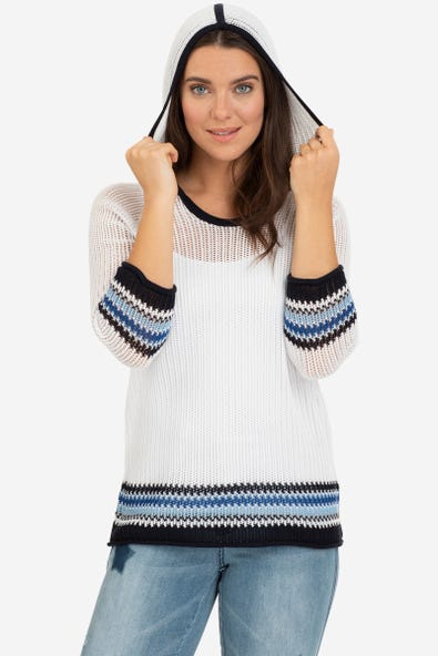LOOSE KNIT SWEATER WITH HOOD