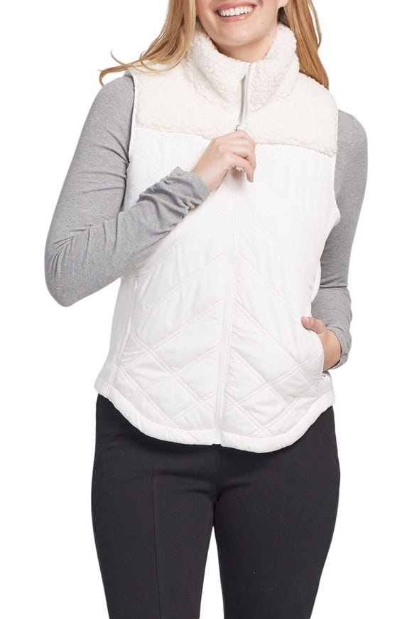 COMBINATION SHERPA QUILTED  VEST
