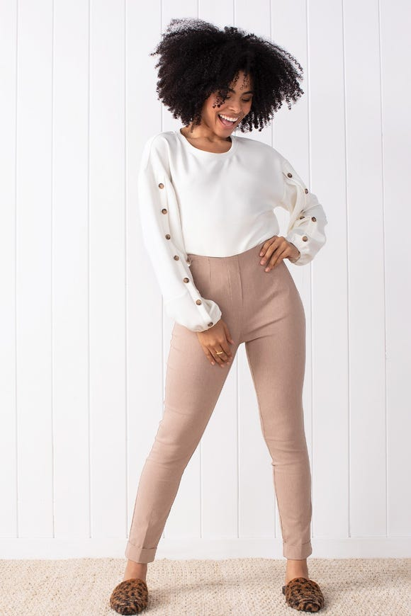 HIGH RISE PULL ON CUFFED BENAGLINE ANKLE PANTS