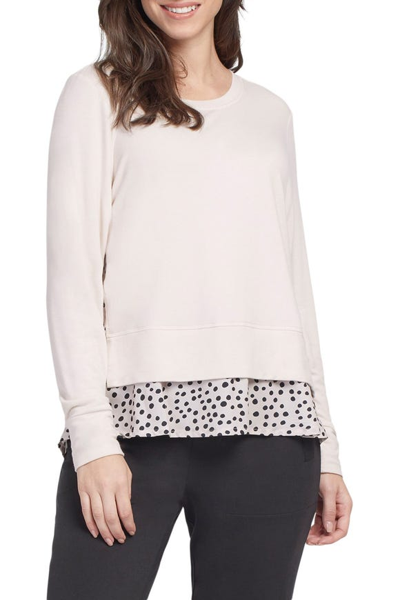 LONG SLEEVE TERRY CLOTH TOP WITH CONTRAST FABRIC FRILL HEM