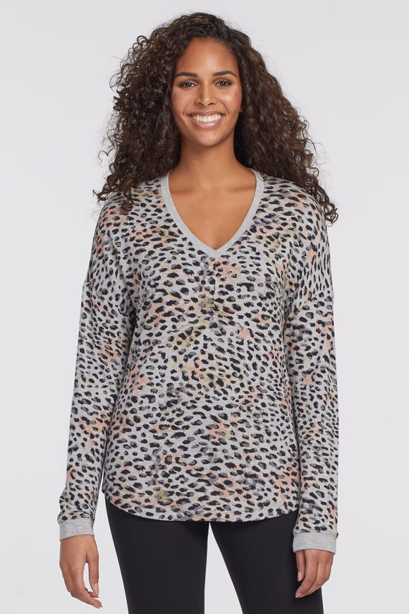 V-NECK ANIMAL PRINT TOP WITH CRISS CROSS BACK DETAIL