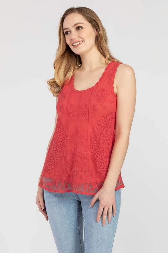 EMBROIDERED MESH-LAYER TANK