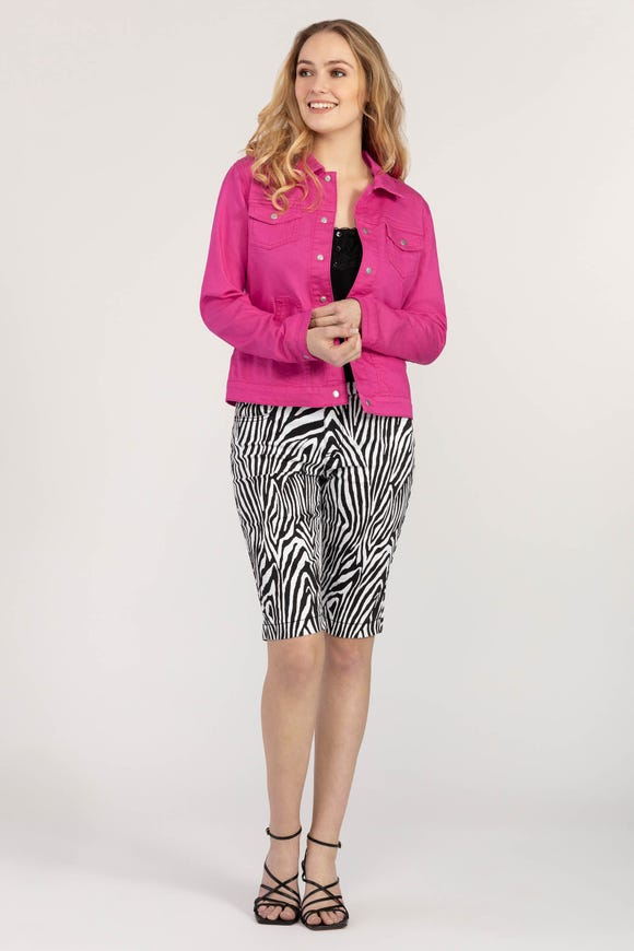 ZEBRA PATTERN PULL-ON BERMUDA SHORTS