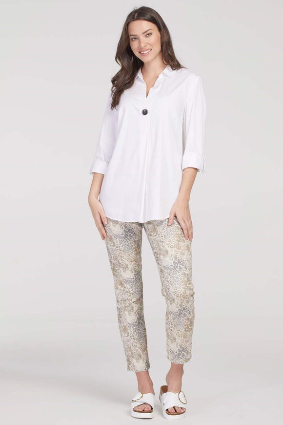 ACCENT BUTTON STRETCH COTTON SHIRT