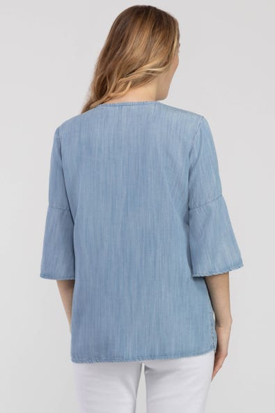 EMBROIDERED BELL-SLEEVE TUNIC