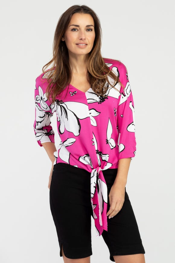 FLORAL PATTERNED FRONT TIE BLOUSE