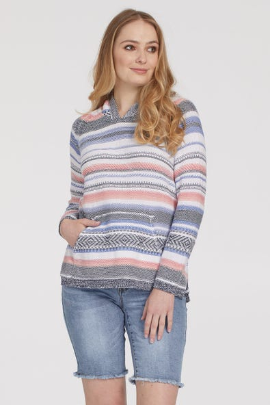 STRIPED COMBED COTTON HOODIE