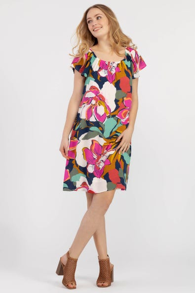 ON-AND-OFF-SHOULDER BOLD FLORAL DRESS