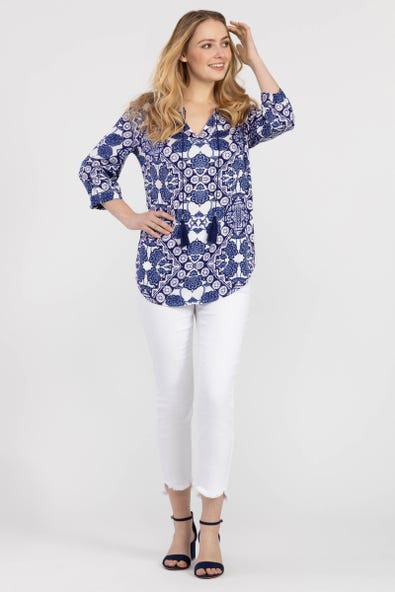 PATTERNED BLOUSE WITH NECK TIE