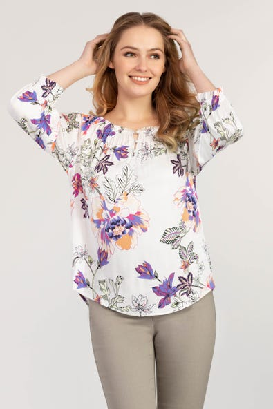 ON & OFF SHOULDER FLORAL PRINT BLOUSE