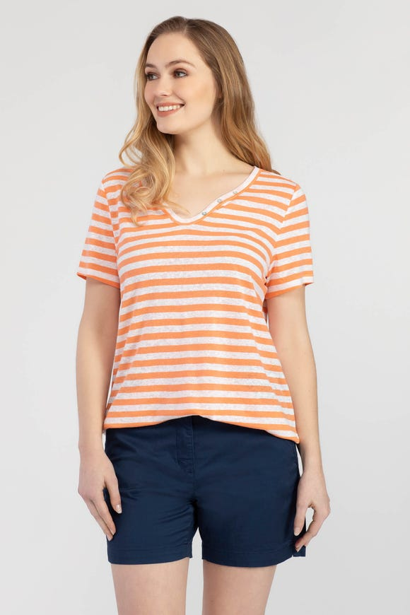 STRIPED SLUB KNIT HENLEY TOP