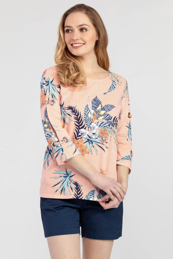 TROPICAL PATTERNED SHIRT WITH EYELETS
