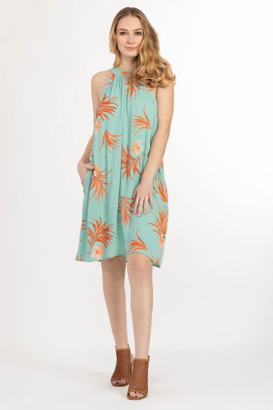LINED PRINTED HALTER DRESS WITH POCKETS
