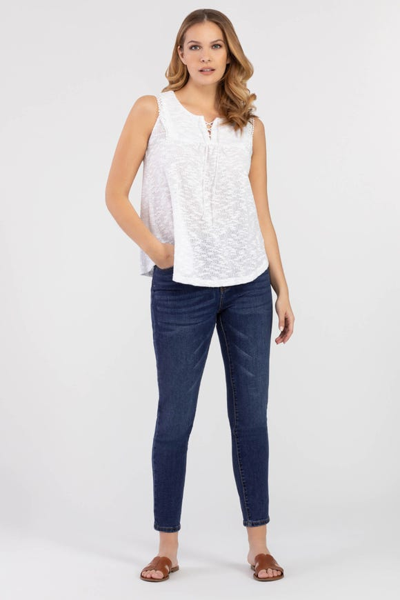 KNIT LACE-TRIM TOP