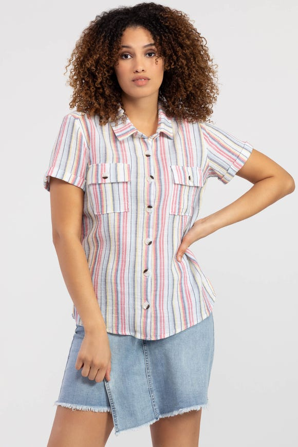 STRIPED SHORT-SLEEVE SHIRT