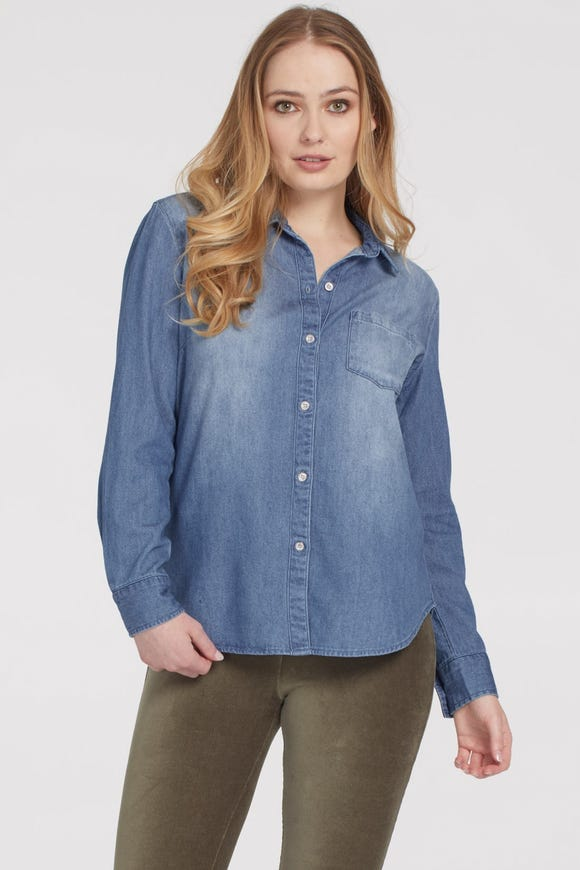 BUTTON FRONT DENIM SHIRT