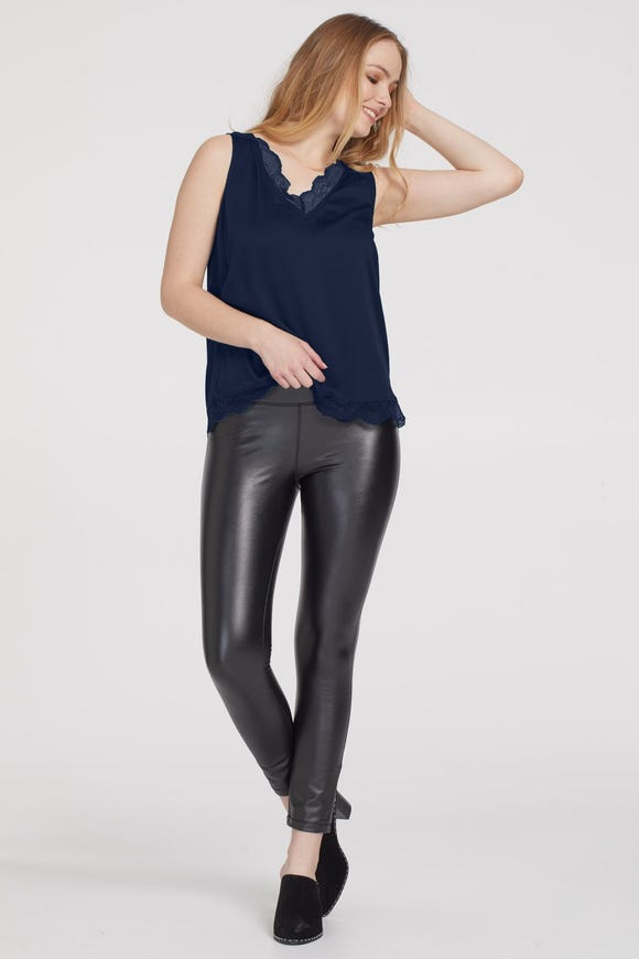 SATEEN CAMI WITH LACE TRIM