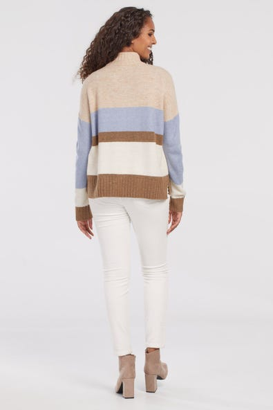 STRIPED NECK SWEATER