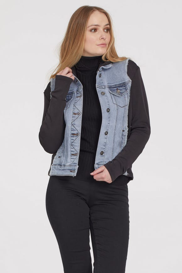 JEAN JACKET WITH JERSEY HOOD AND SLEEVES
