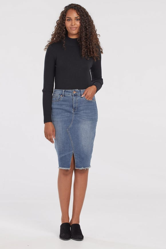 DENIM SKIRT WITH FRONT SLIT