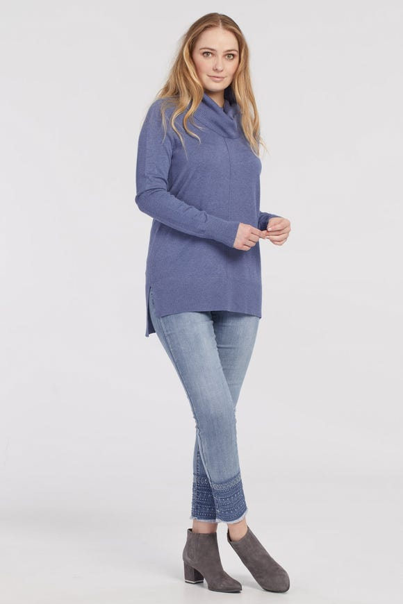 COWL NECK SWEATER WITH BACK RIB DETAIL