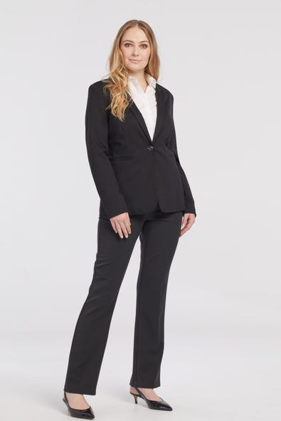 PONTE JACKET WITH FLOCK DOT ROLL-UP SLEEVE