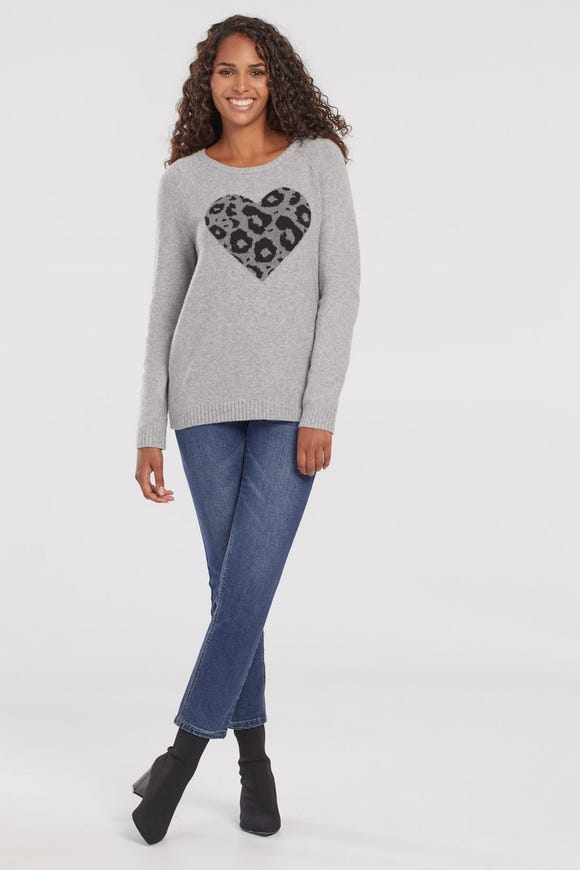 INTARSIA KNIT HEART SWEATER