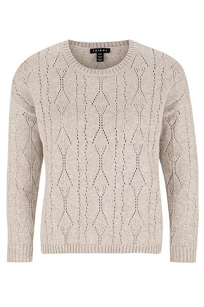 LONG SLEEVE POINTELLE SWEATER