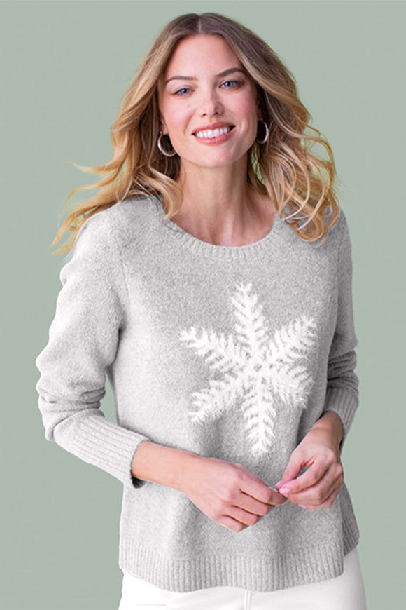 INSTARSIA KNIT SNOWFLAKE SWEATER