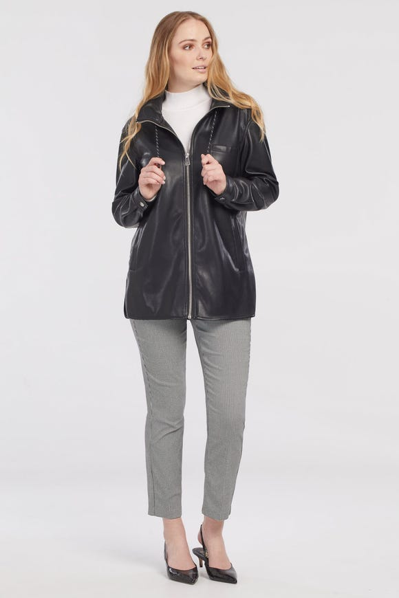 FAUX-LEATHER JACKET WITH INTEGRADED HOOD