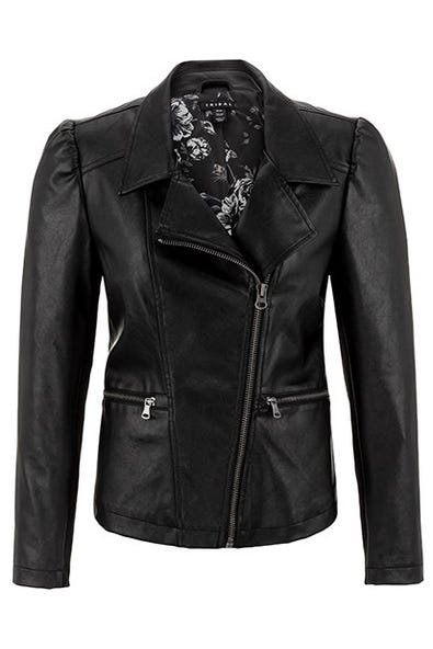 PUFF SLEEVE FAUX-LEATHER JACKET