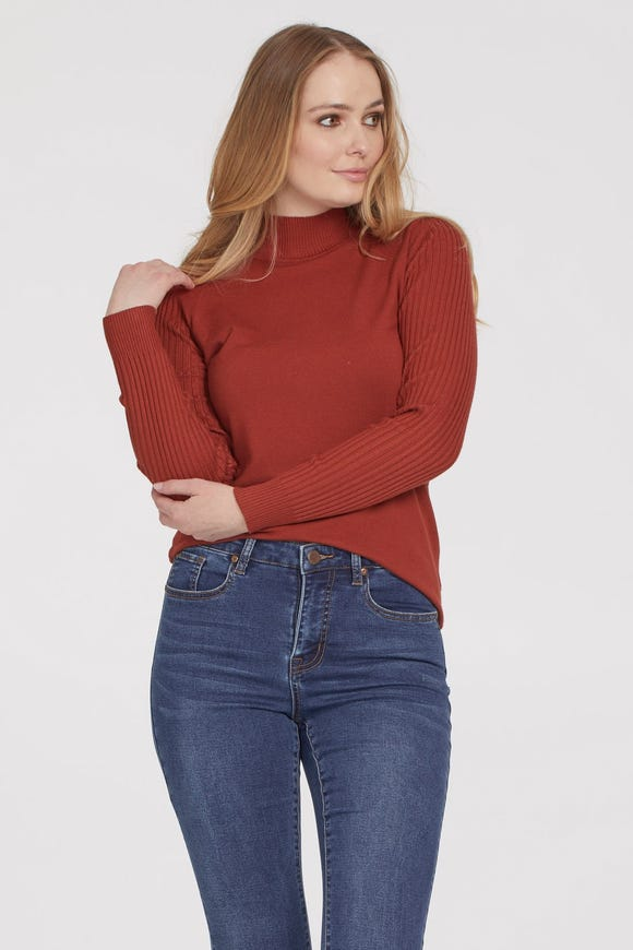 TURTLENECK SWEATER WITH TORTOISE BUTTONS