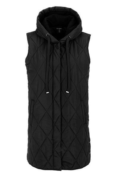 LONGLINE PUFFER VEST WITH FLEECE LINED HOOD