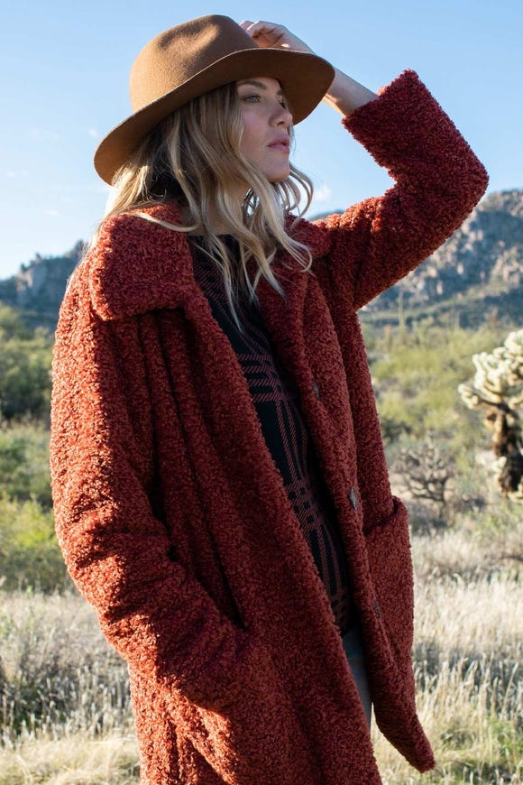 LINED FAUX SHERPA COAT