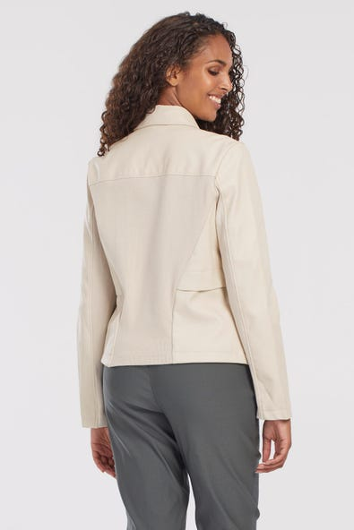 FAUX-LEATHER JACKET WITH RIBBED BACK