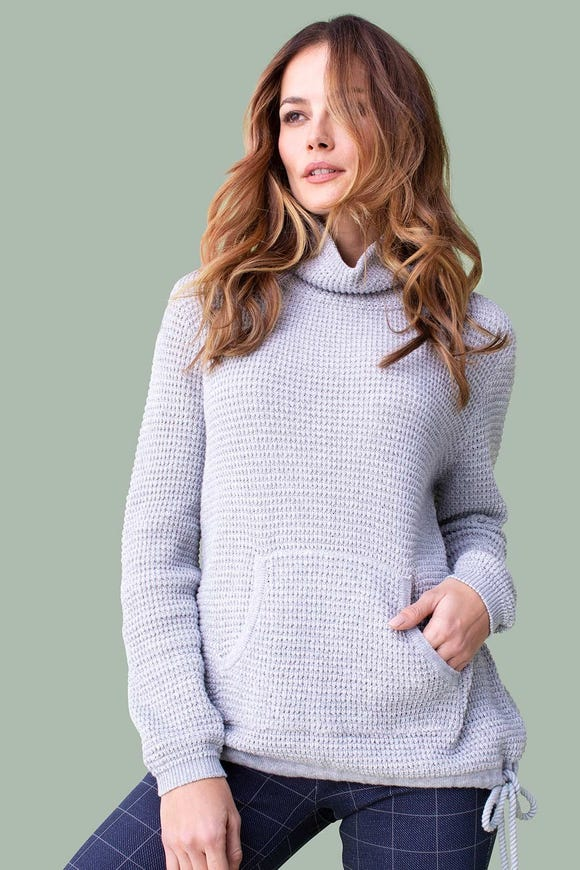 COTTON KNIT SWEATER WITH DRAWSTRING
