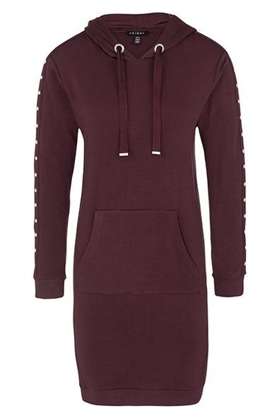 HOODED DRESS WITH STUDS