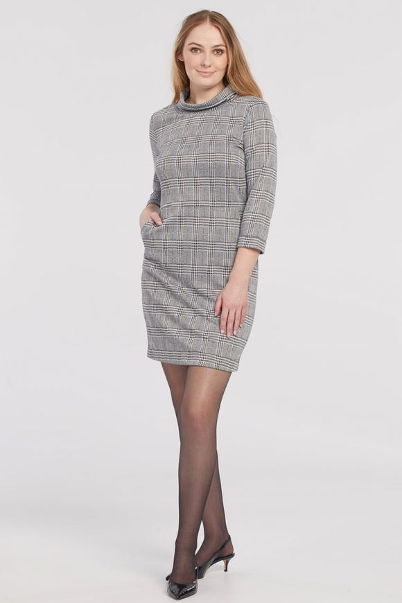 KNIT PLAID MOCK NECK DRESS