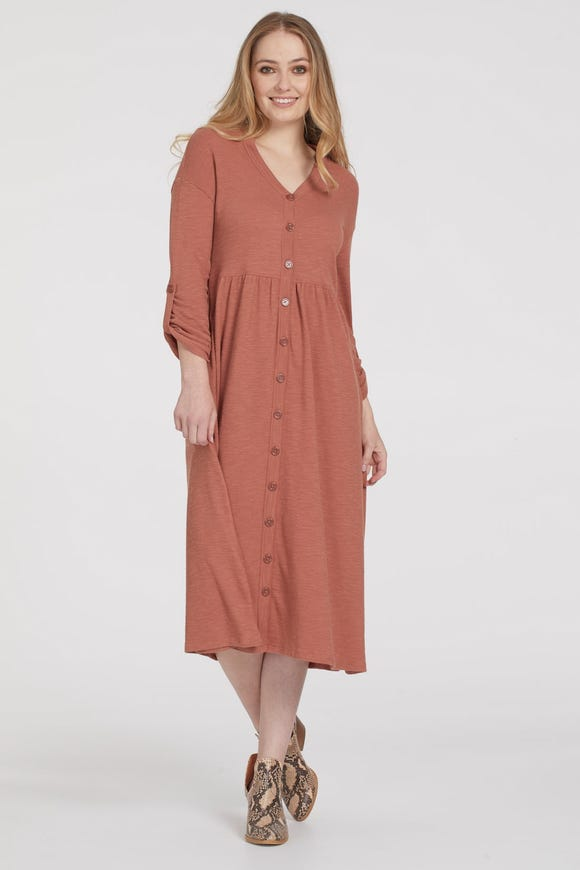 TEXTURED KNIT DRESS WITH ROLL SLEEVES