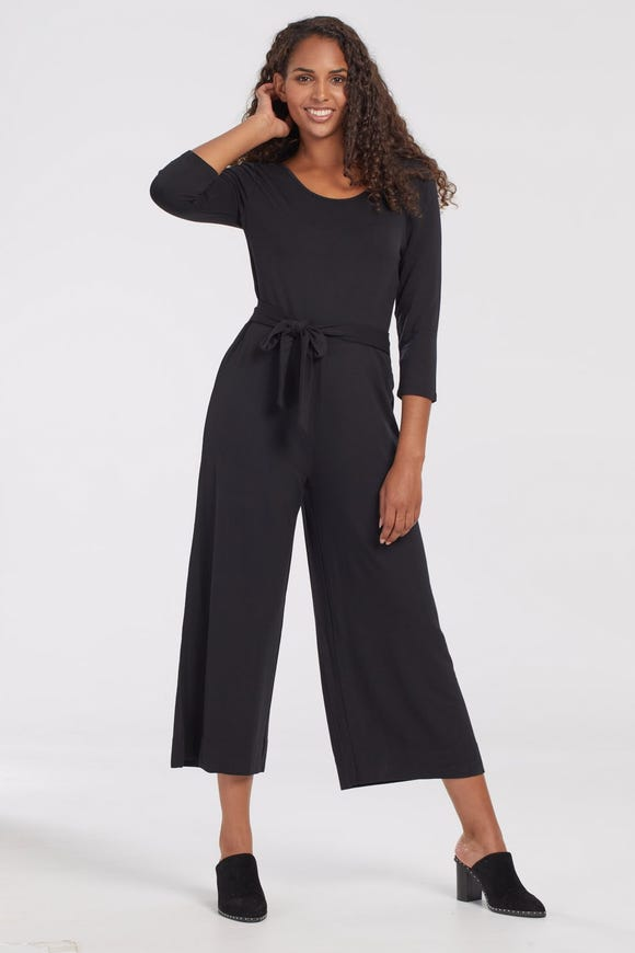 FRENCH TERRY JUMPSUIT WITH TIE BELT