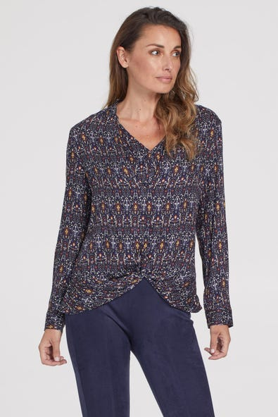 FRONT-KNOT BLOUSE