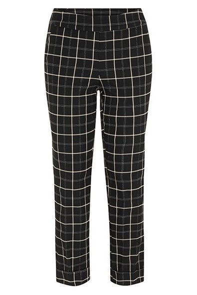 CUFFED JACQUARD PLAID PANTS