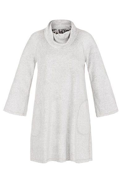 SOFT FLEECE REVERSIBLE COWL NECK DRESS