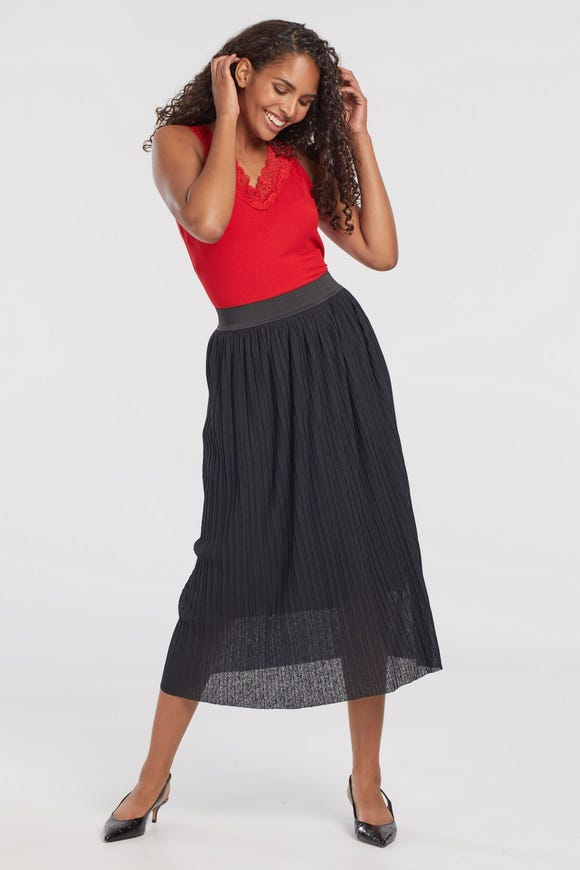 PLEATED VOILE SKIRT