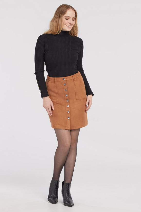 FAUX- SUEDE A-LINE SKIRT WITH BUTTON FRONT