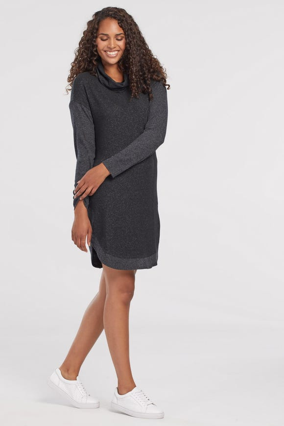 FUZZY KNIT COWL NECK DRESS