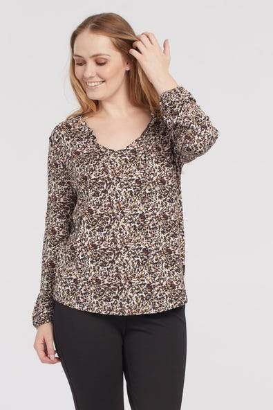 V NECK TOP WITH FRILL