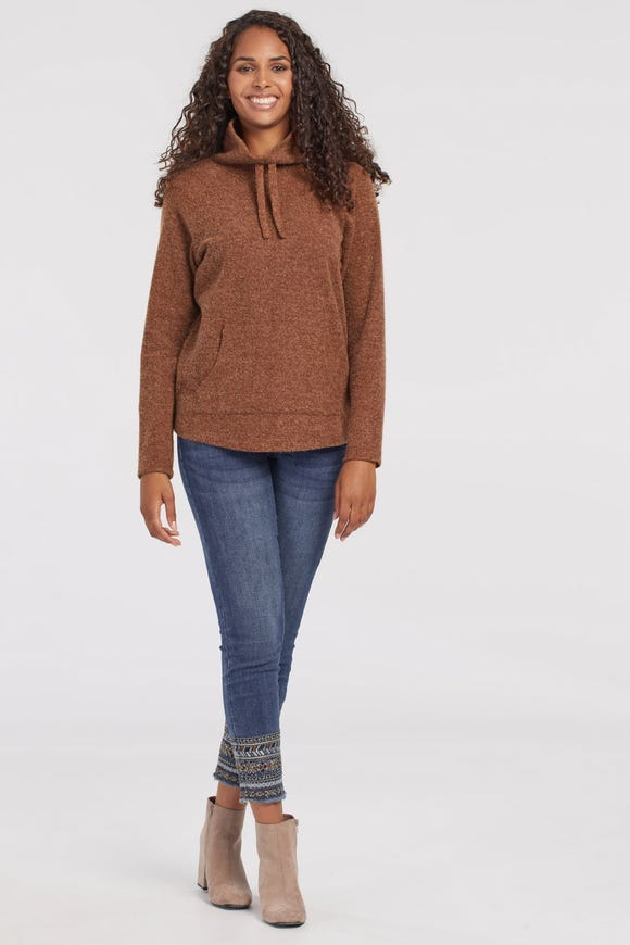 SOFT RIB RAGLAN COWL NECK TOP