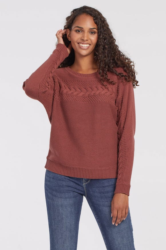 COMBED COTTON CABLE SWEATER