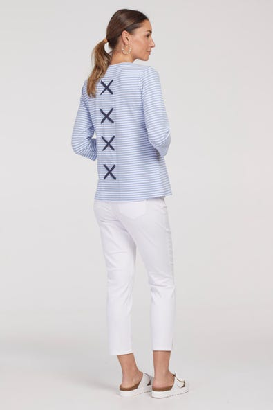 STRIPE JERSEY TOP WITH  CROSS BACK DETAIL